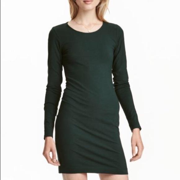 8e9cf477f5c4 H&M Dresses | Nwt Hm Dark Green Jersey Dress | Poshmark